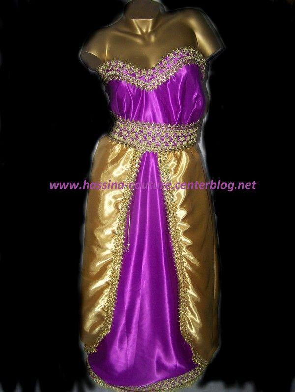 robe kabyle moderne prune et doré .