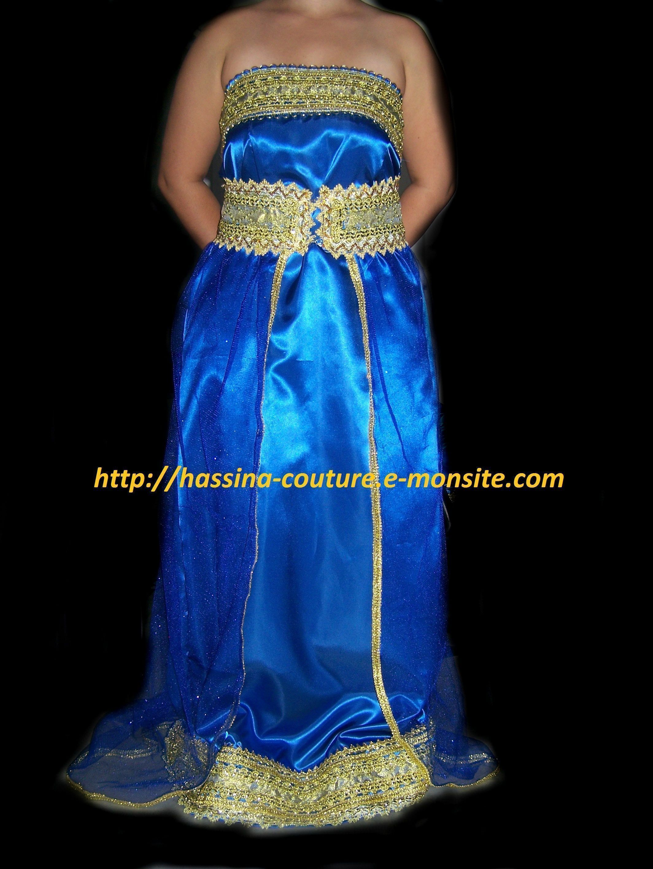 robe bustier bleu et doré